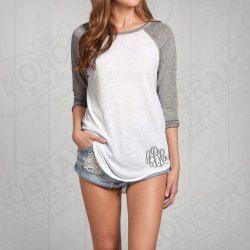 Stylish Jewel Neck Long Sleeve Spliced Embroidered Women's T-Shirt
