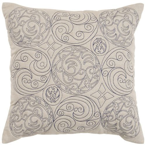 Embroidered Parchment 18 x 18 Pillow w/ Down Fill - (In Down Fill (pillows))