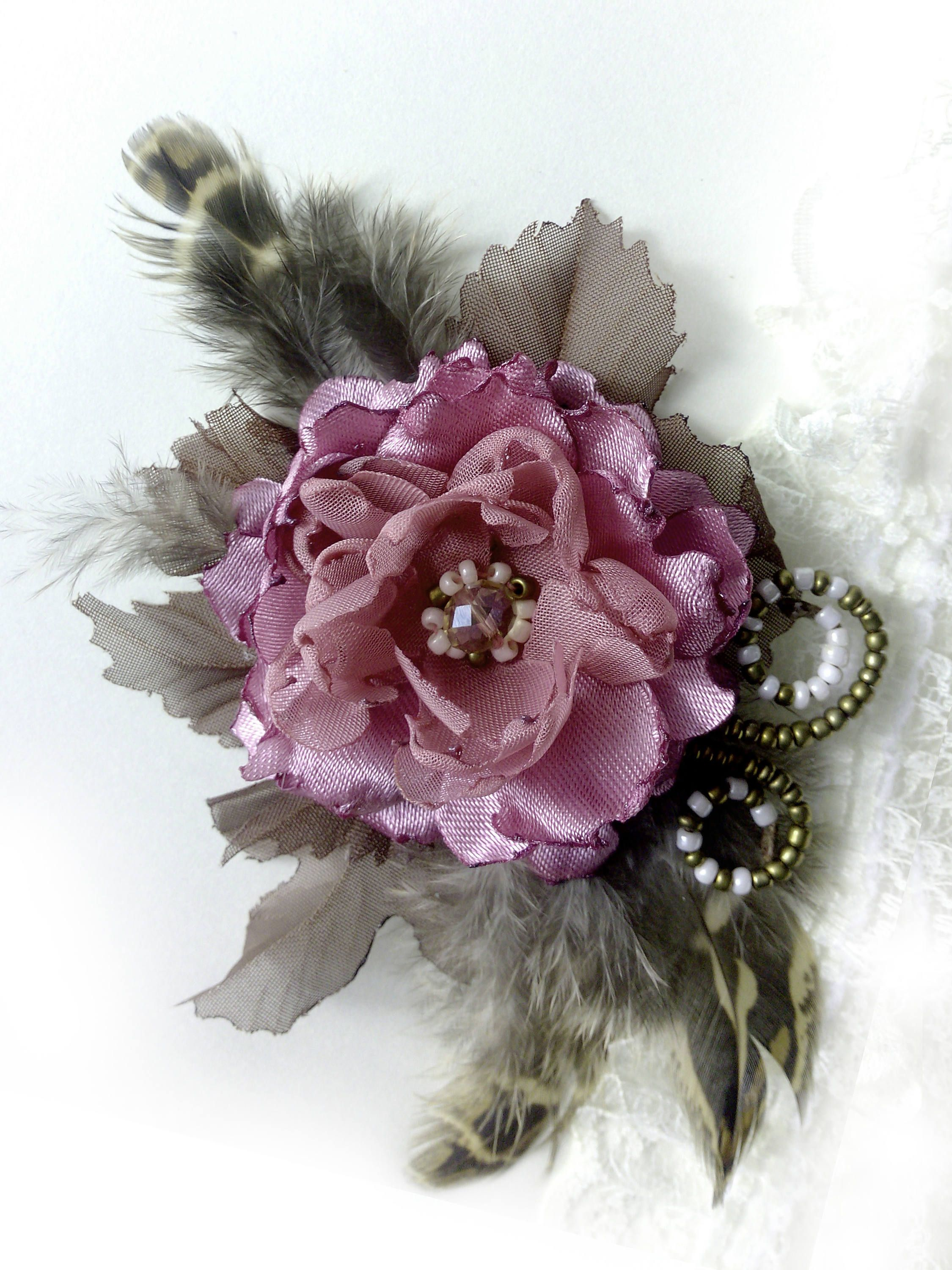 Pink Peony Vintage Brooch Pink Chiffon Flower Puce Peony Hair Clip