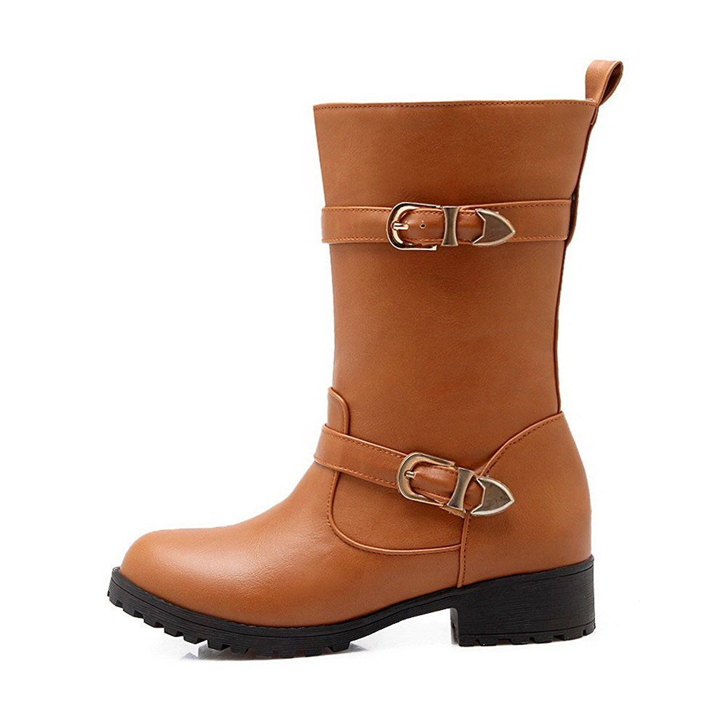 Women's Pull-on Low Heels PU Solid Low-top Boots