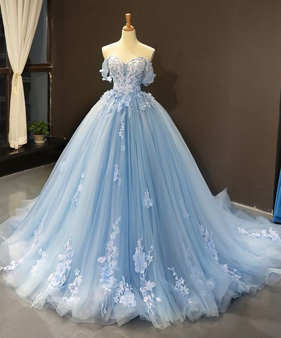 Off Shoulder Sky Blue Tulle Appliques Lace Senior Prom Dress, Evening Dress, Ball Gown Prom Dresses