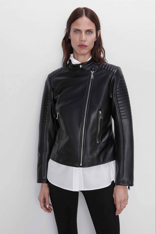 Faux leather biker jacket Jackets, Mandarin collar
