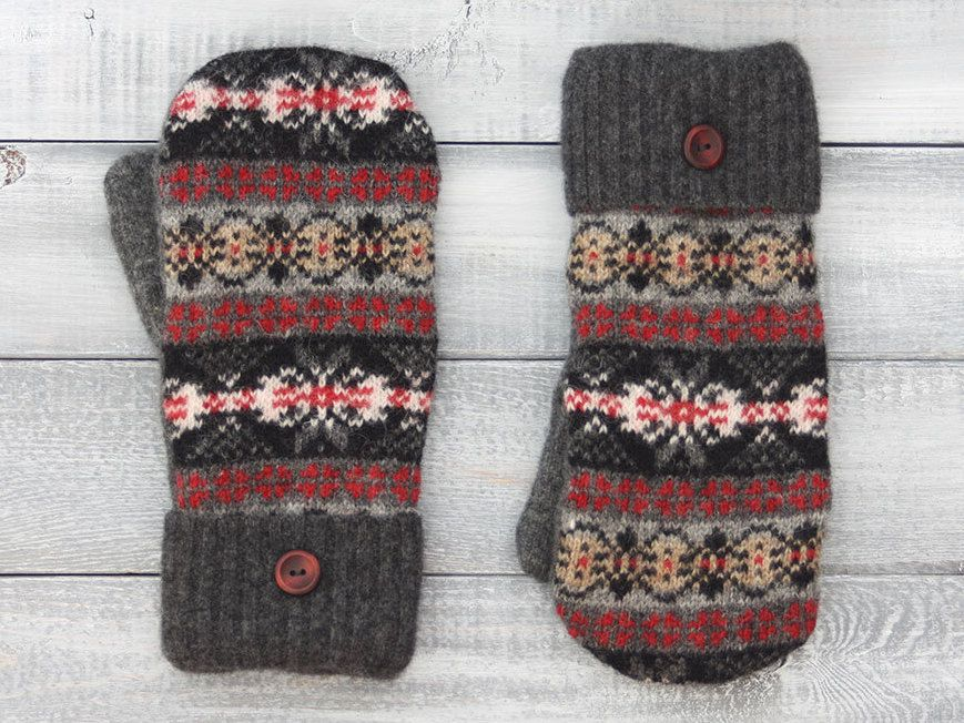 Sweater mittens, recycled sweater mittens, wool mittens, black and ...