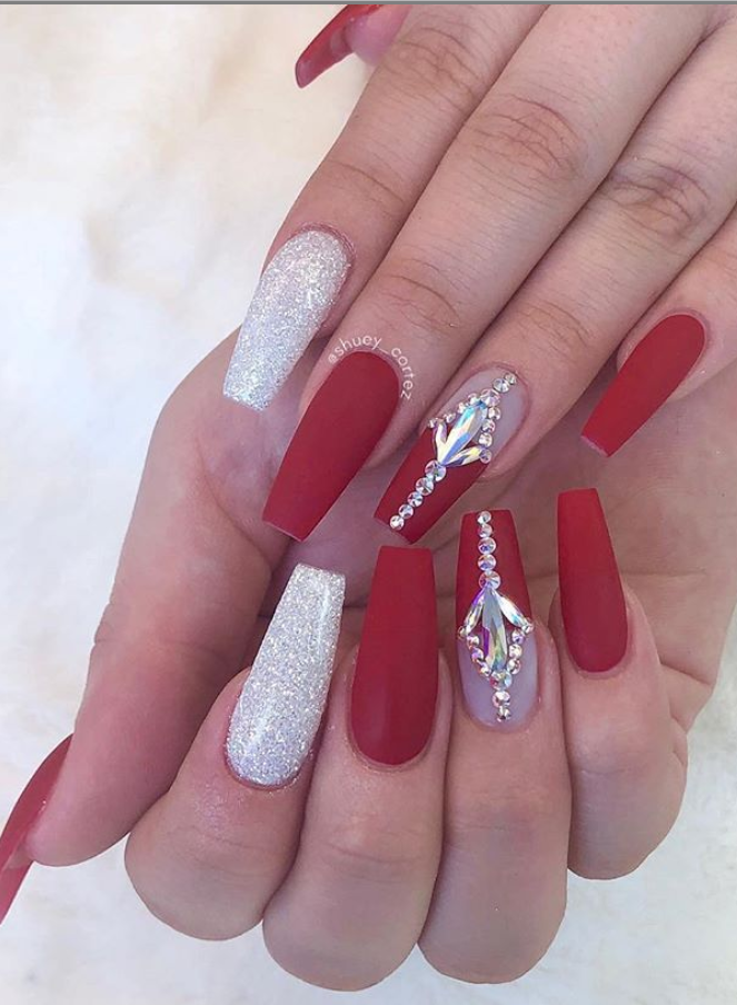 60 Bling Acrylic Coffin Nails Design With Rhinestones Page 36 Of 60 Nails Design With Rhinestones Red And Silver Nails Coffin Nails Designs