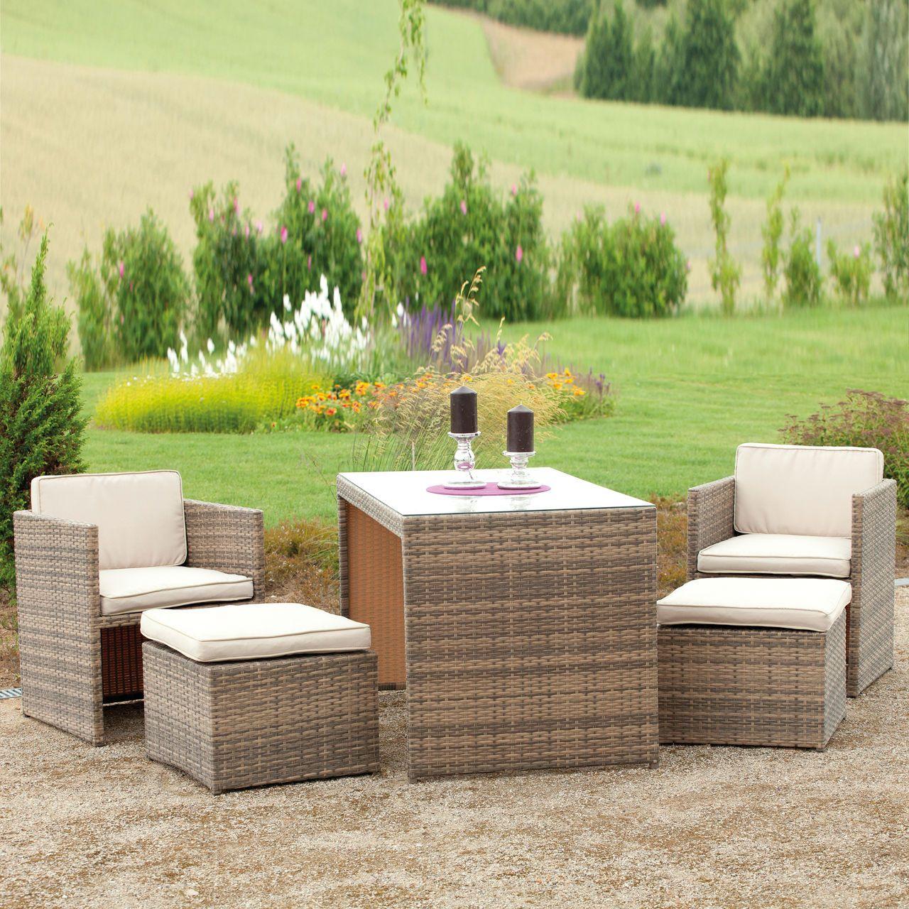 Kompaktes Lounge Set Für Terrasse Und Garten. Wasserfest.