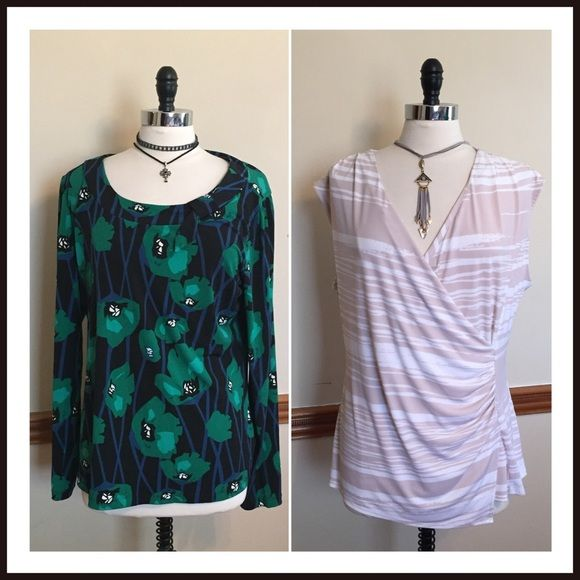Pre-Made Bundle>>2 trendy casual career blouses Two for the price of one! East 5th blue, green, & black floral long sleeve top. New York & Company tan & white print cap sleeve top. Both size XL. EUC New York & Company Tops Blouses