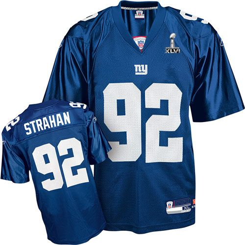 Reebok New York Giants  92 Michael Strahan Blue Authentic XLVI Super Bowl  Jersey ID 1630  20 54cd2ce44