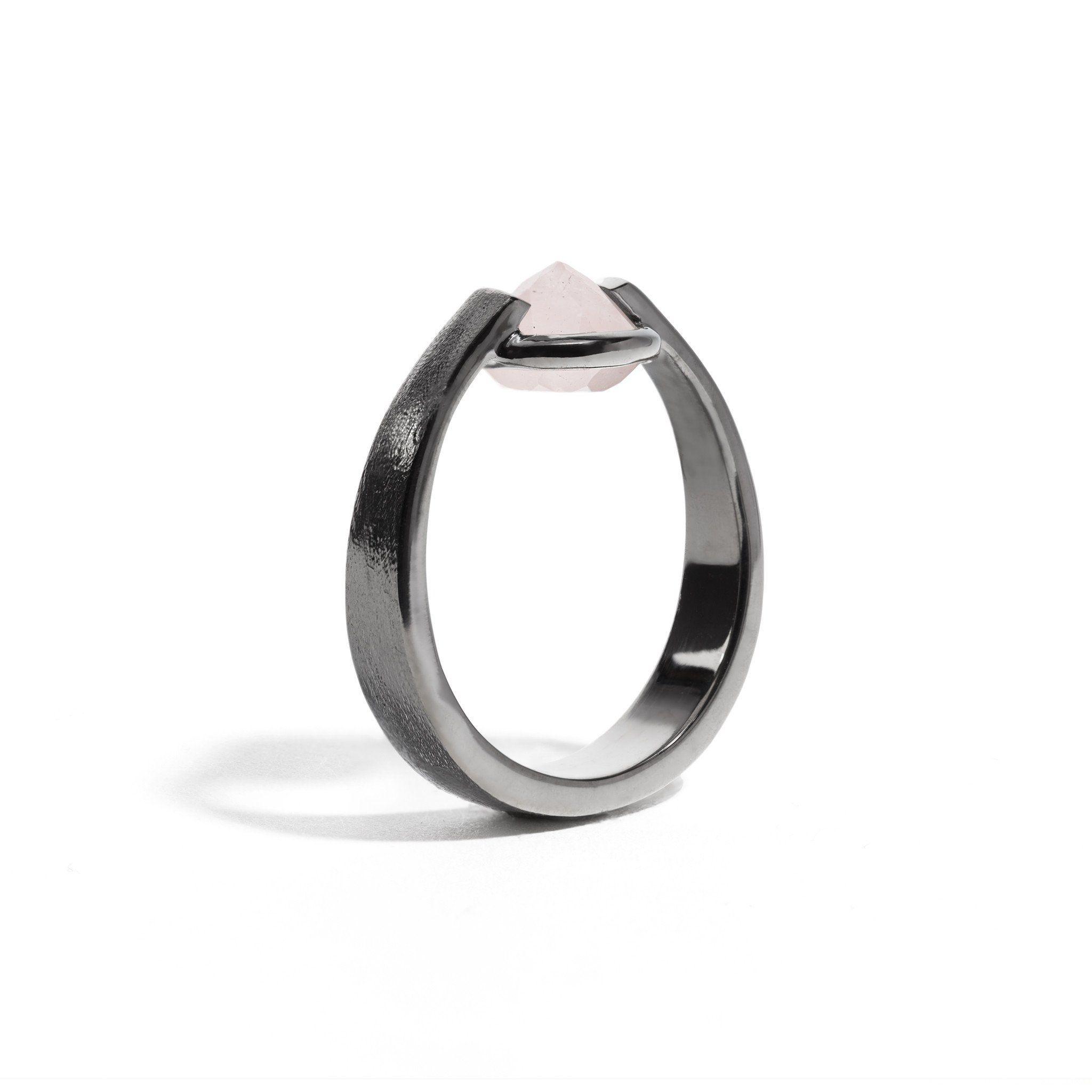 passion 3 Ct Rose Quartz Brushed Gunmetal Ring