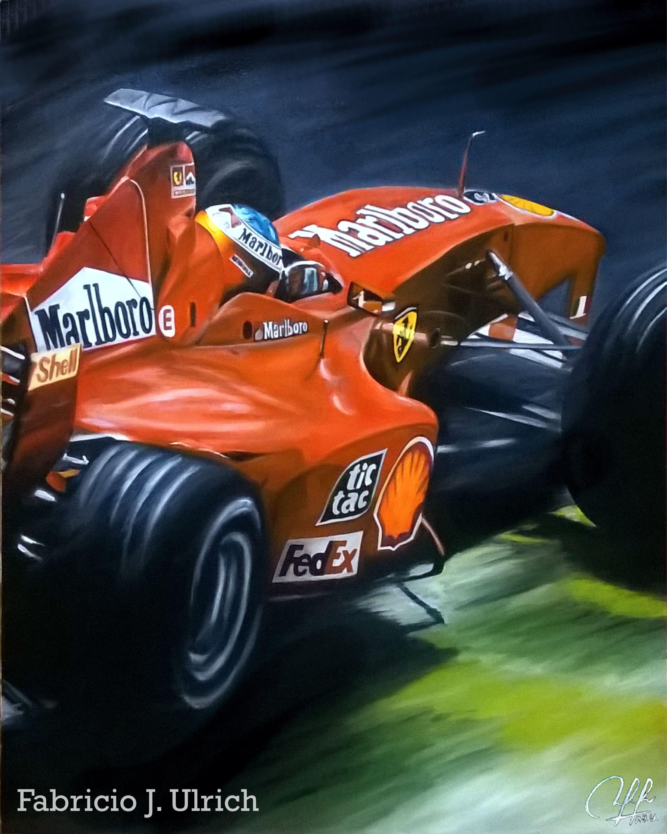 """Michael Schumacher"" óleo Sobre Tela 40x50. Trabajo"