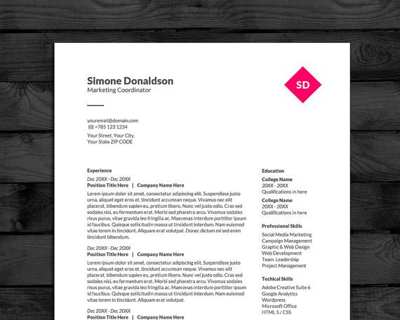 Simple  Clean Resume Template Easy to Edit in Word 3 pages With