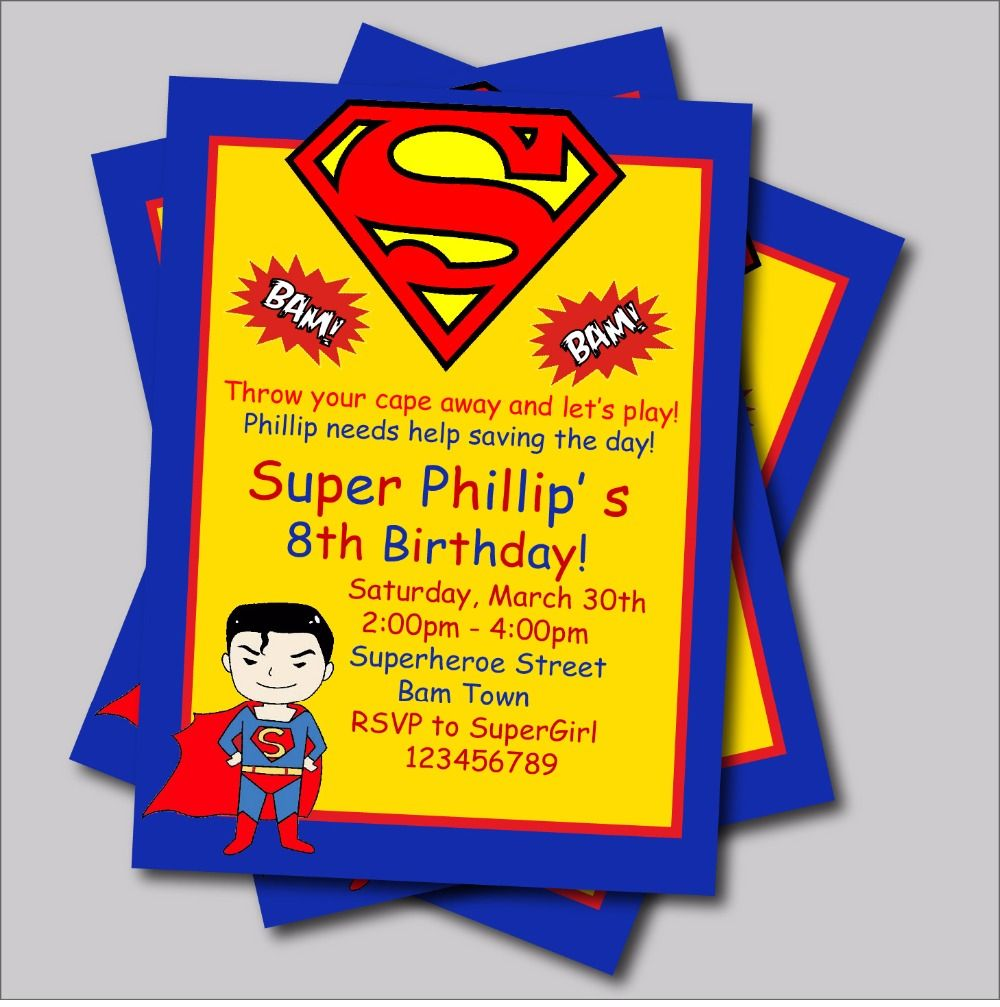 Superman Birthday Party Invitations | Birthday Party | Pinterest ...