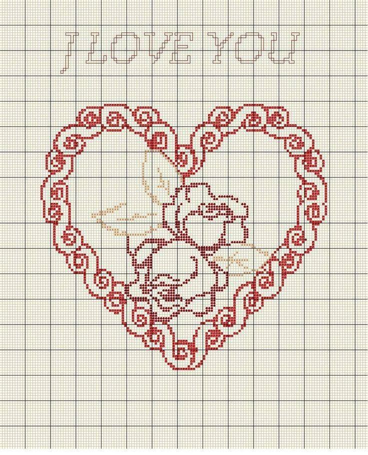 Points de croix *@* coeur   Amour point de croix, Point de croix mariage, Motifs de couture