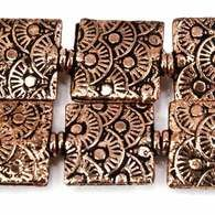 12mm Antiqued Copper Sunrise Embossed Square Beads, 8 inch, 15 beads
