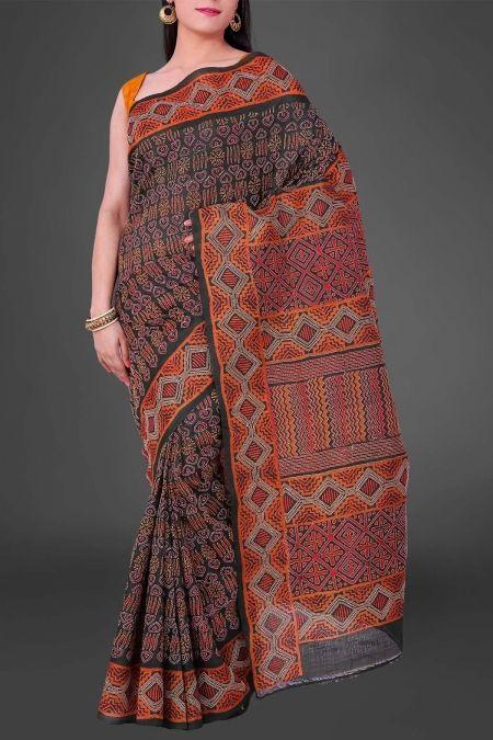 dfab60ed5987d Green Hand Block Print - Kantha Tussar Silk Saree