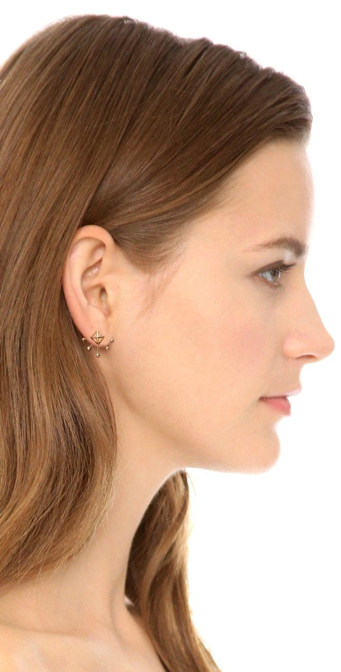 Rebecca Minkoff Pyramid Fan Stud Earrings Bop