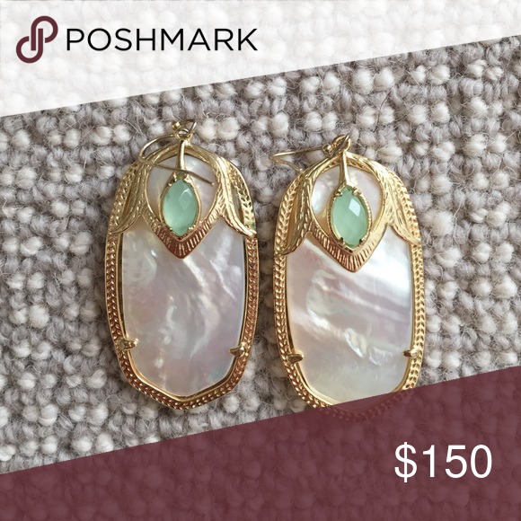 Kendra Scott Darby Earrings-limited edition pearl white/ivory pearl, gold, light aqua blue accent; only worn a couple of times Kendra Scott Jewelry Earrings