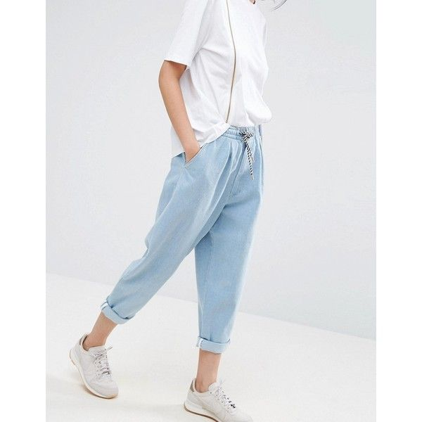 ASOS WHITE Denim Jean With Tie Waistband In Lightblue Wash ($83) ❤ liked on Polyvore featuring jeans, blue, asos jeans, jogger jeans, waistband jeans, high rise jeans and high waisted jeans