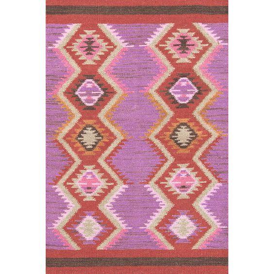 rhapsody wool rug lavender pink orange tribal flatweave | Bedroom ...