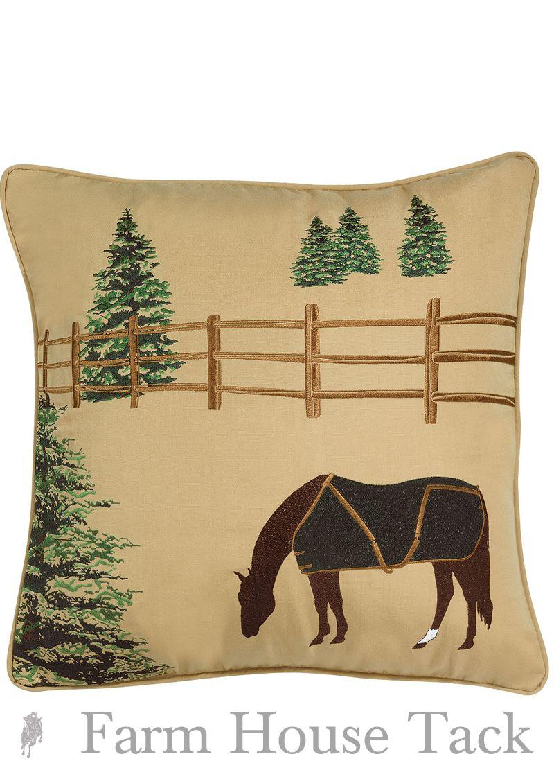 Outdoor Pillow Winter Chill Horse Pillow Outdoor Pillows Throw Pillows