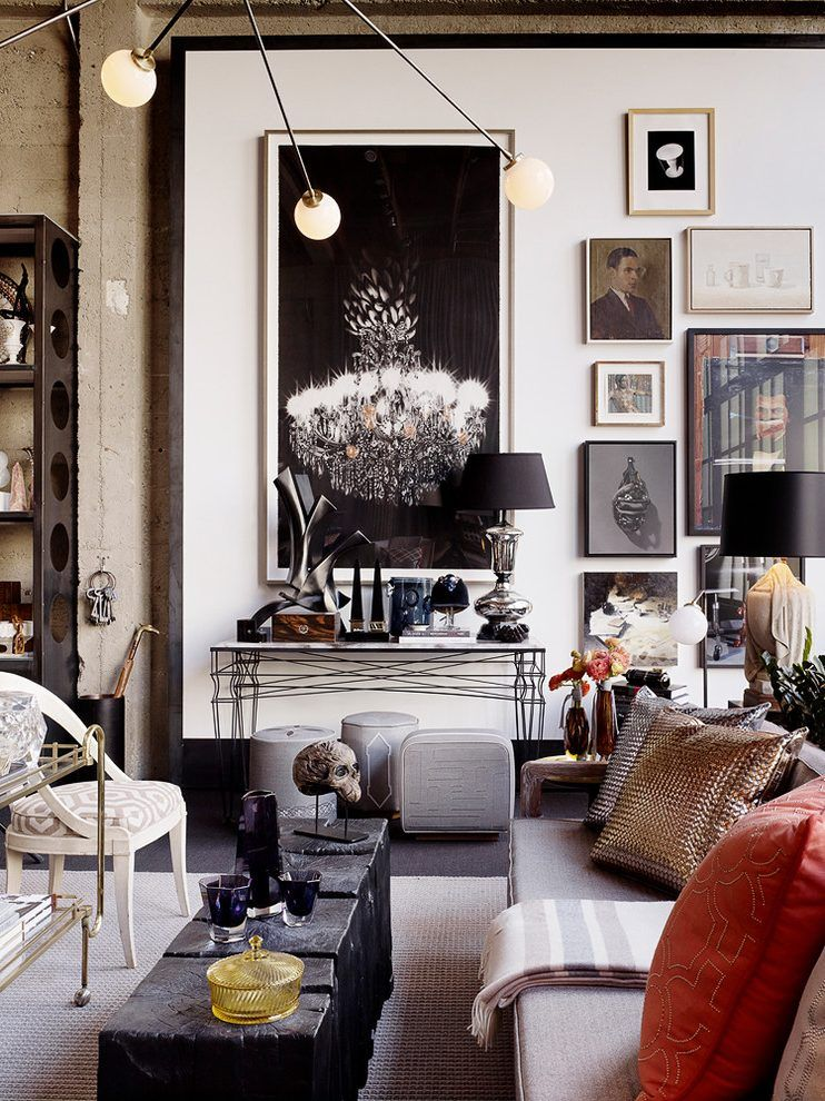 Industrial Glam Living Room Eclectic With Chandelier Resin Table