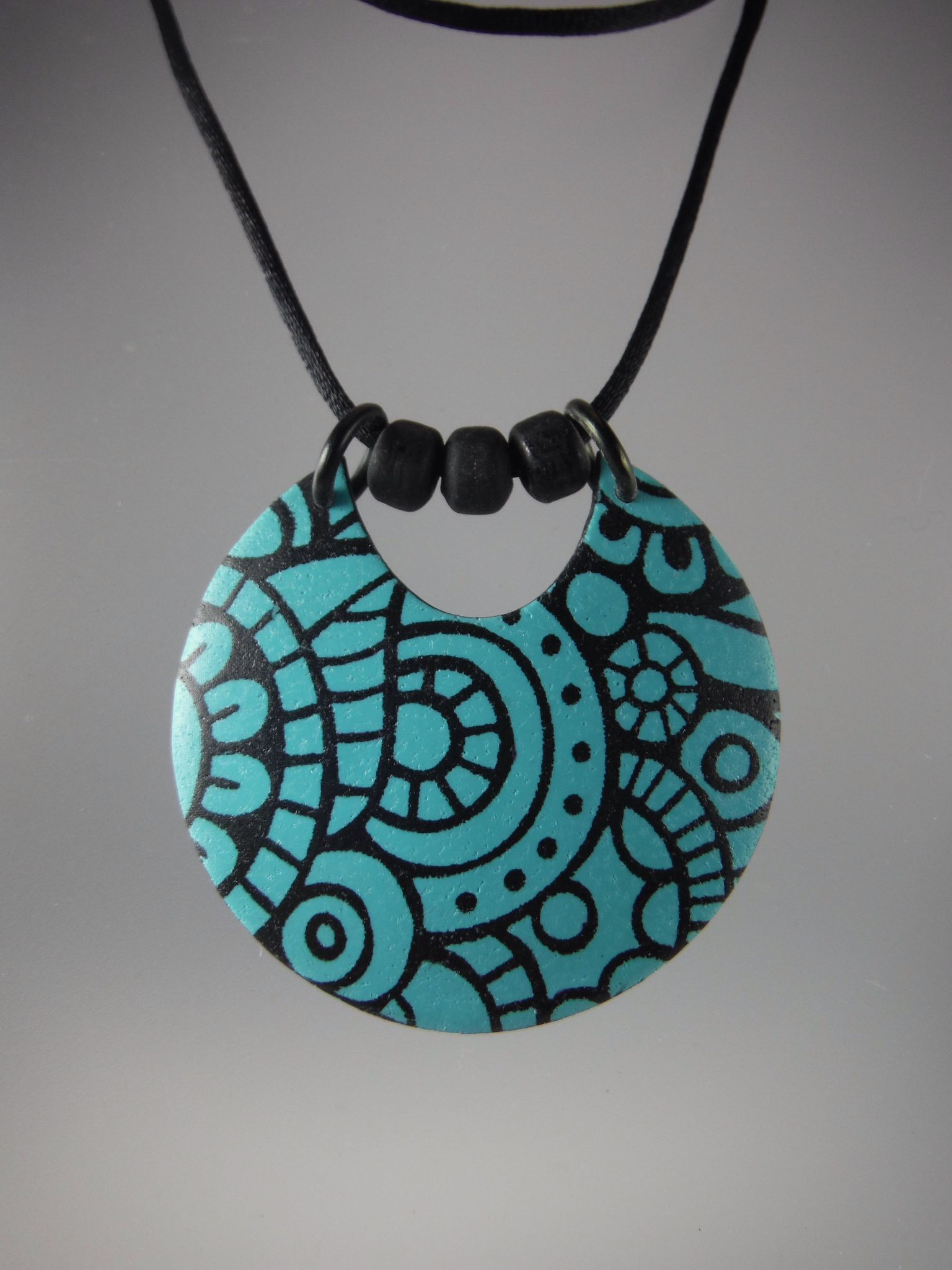 Turquoise silkscreened polymer clay necklace by annie jacobi jewelry turquoise silkscreened polymer clay necklace by annie jacobi jewelry mozeypictures Gallery