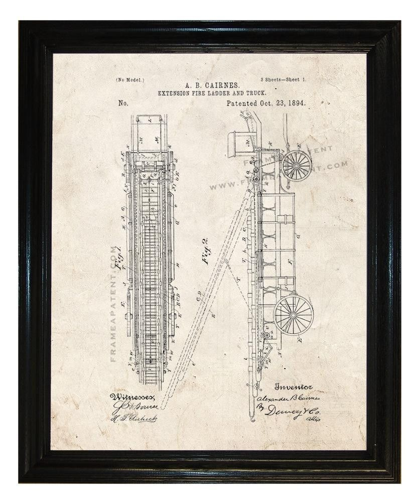 Extension Fire Ladder And Truck Patent Print Patents Pinterest Schematic
