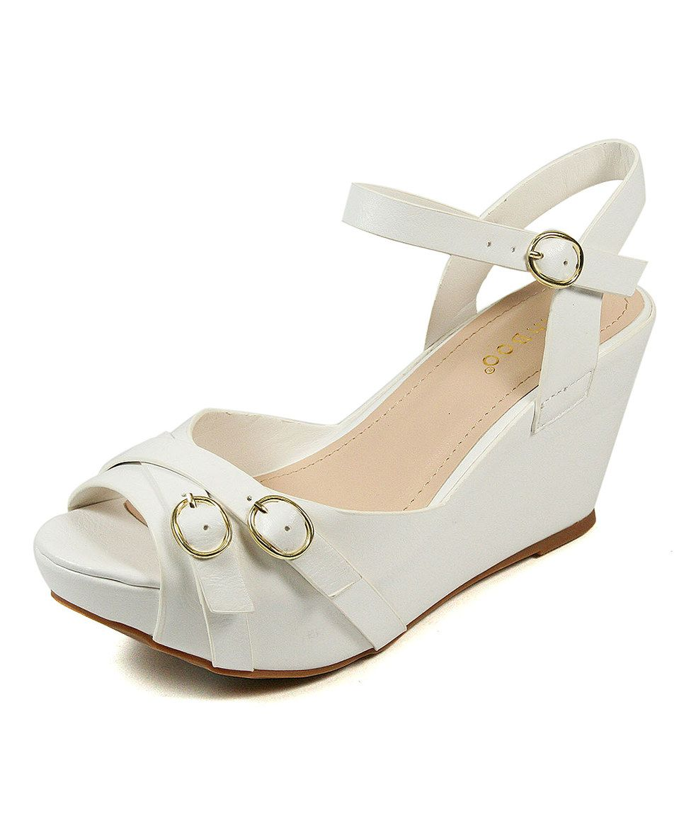 Love this White Buckle Renata Wedge by Bamboo on #zulily! #zulilyfinds
