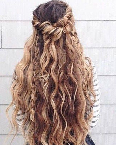 Bohemian hair half up half down hairstyle
