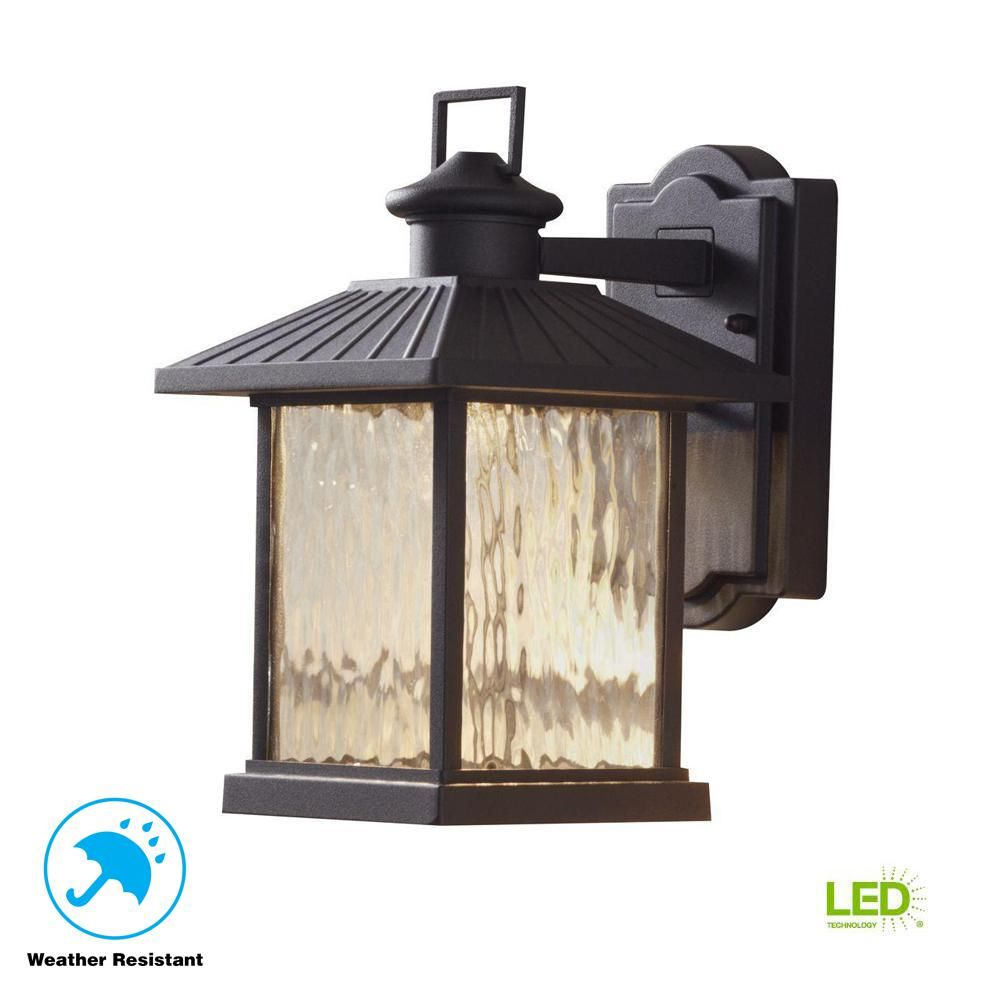 Hampton Bay Lumsden 7 In Black Outdoor Integrated Led Wall
