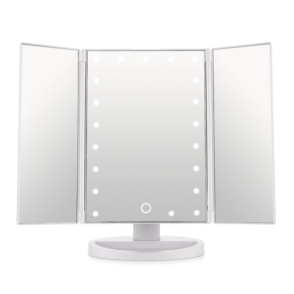 Tri Fold Vanity Mirror With Lights Extraordinary Easehold Trifold Lighted Vanity Mirror Three Panel 21Pcs Led Light Decorating Inspiration