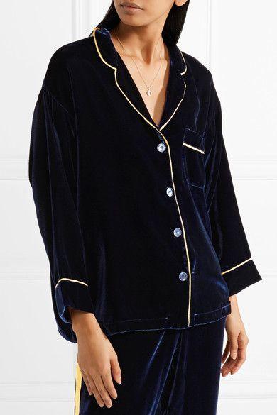 Websites Sale Online Marina Grosgrain-trimmed Velvet Pajama Shirt - Midnight blue Sleepy Jones Brand New Unisex Cheap Price Cheap Professional Release Dates Online Outlet Ebay gydYoA