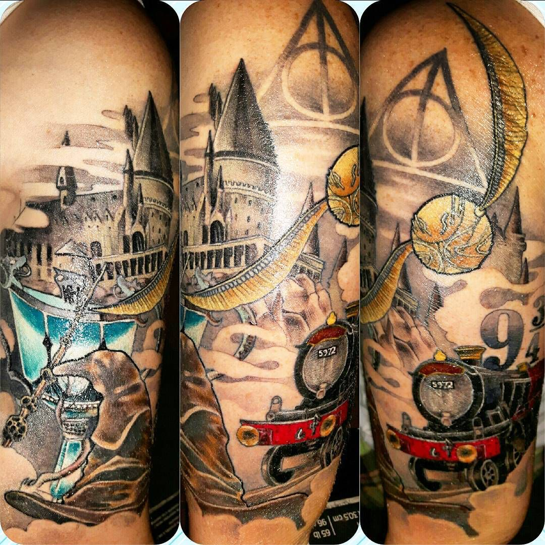 Harry Potter Sleeve Tattoo Google Search Harry Potter Tattoos Sleeve Tattoos Harry Potter Tattoo Sleeve