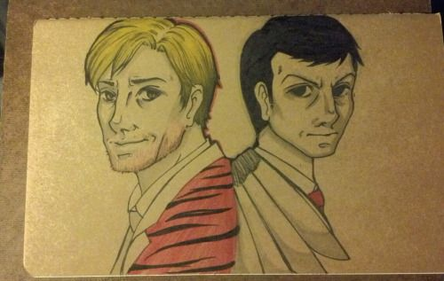 I wee bit of time today to draw Sebastian and Jim on the back of a small Moleskine notebook. <3  Done with various markers!