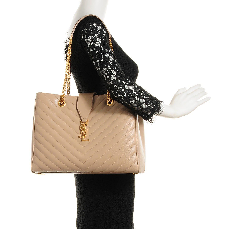 SAINT LAURENT Grain de Poudre Matelasse Chevron Monogram Shopping Bag Dark  Beige c995119936