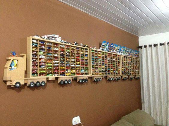 Matchbox car tractor trailer shelving for little boys room