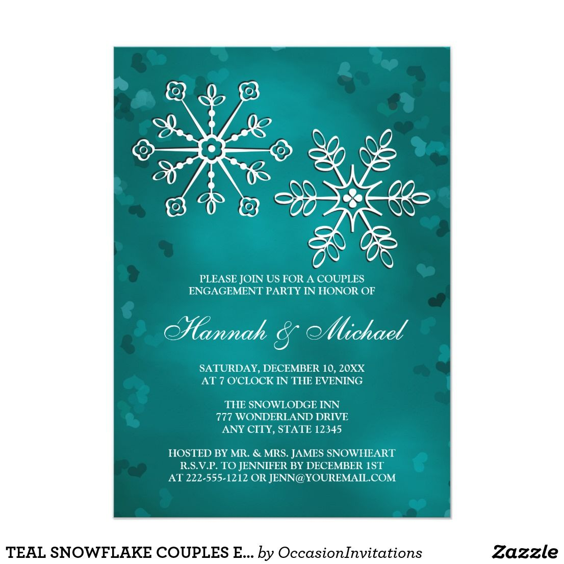 Teal Snowflake Couples Engagement Party Card Engagement Party