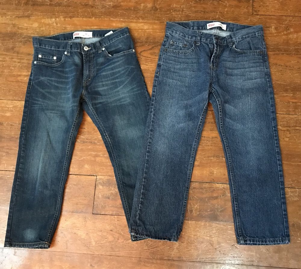 e9d122027b5 Levis 505 Boys Straight Leg Regular Fit 8 Husky 28 x 23 Denim Jeans 2 Pair  Lot 617845335909