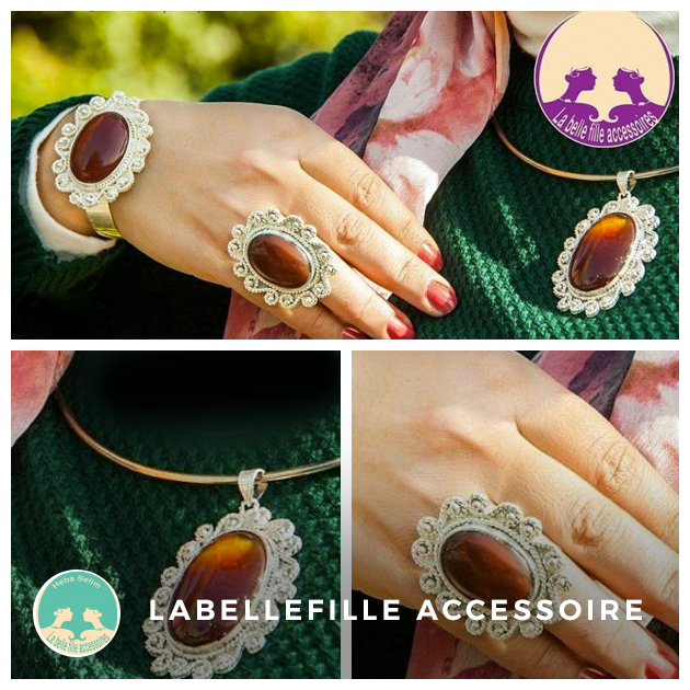 Set of pendant, bracelet and ring, made of Agate stone and plated with silver.  You can order it from LABELLEFILLEACCESSOIRES store on Tindio  #tindio #handmade #accessories