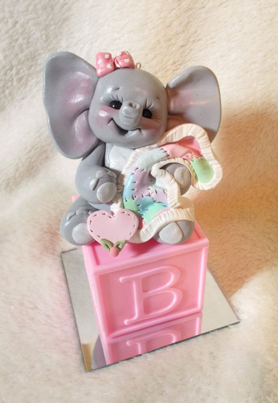ELEPHANT CAKE TOPPER: Elephant Baby Shower Cake Topper Pink Baby Block  Polymer Clay Decoration Gift Animal Personalized