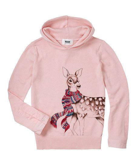 Pink Scarf Deer Hoodie - for Baby, Toddler & Girls