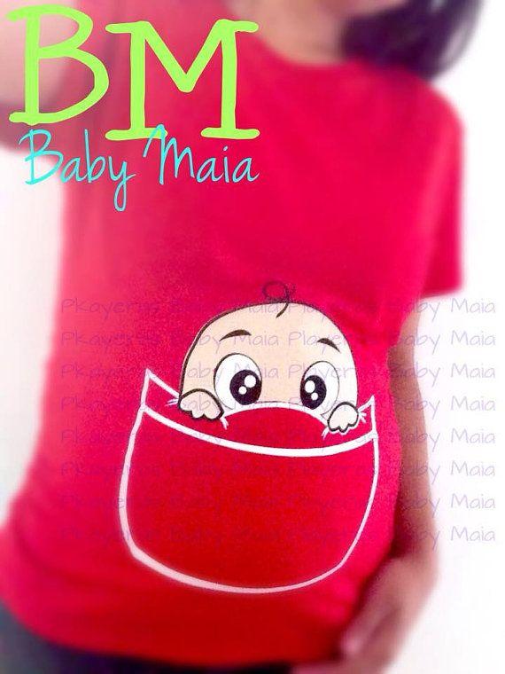f8a2a7d09 Playeras de maternidad divertidas Embarazada Baby por BabyMaia ...