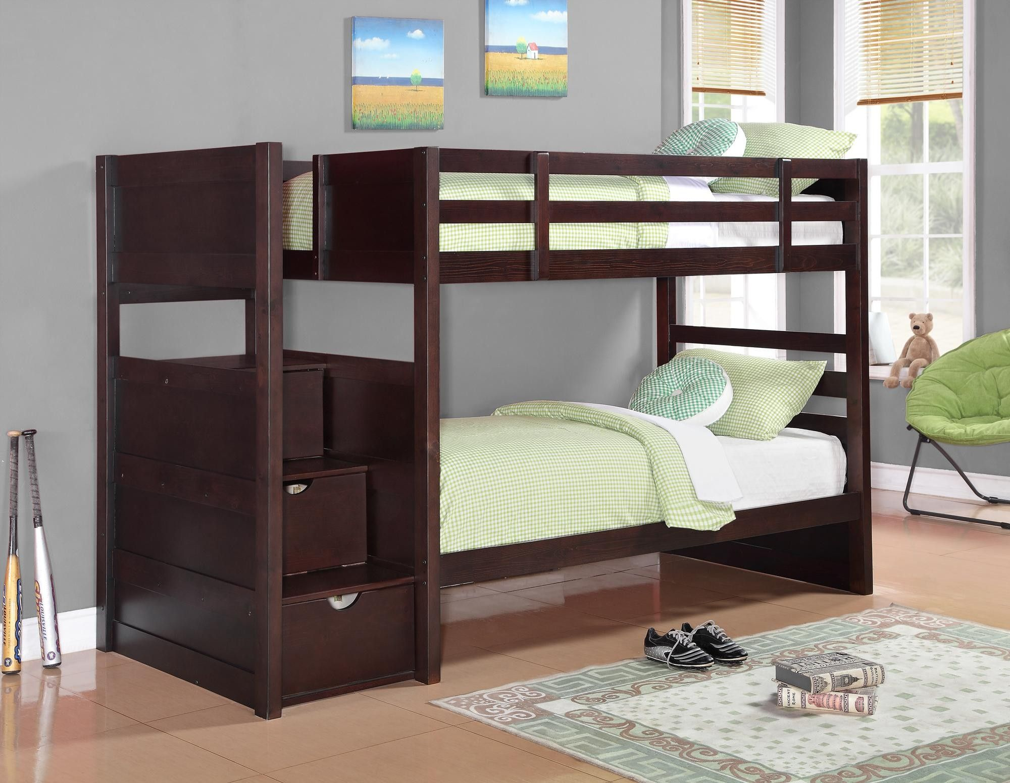 Parker Cappuccino Twin Over Twin Bunk Bed 61 Inches High New House