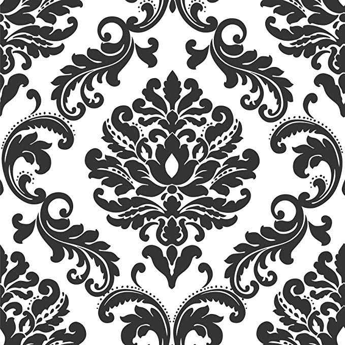 Ariel Black And White Damask Peel And Stick Wallpaper Wallpaper Borders Amazon Com Peel And Stick Wallpaper Damask Wallpaper Nuwallpaper