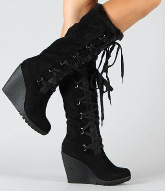 Womens Winter Knee High Boots Shoes Lace Up Faux Suede Fleece Lined Wedge Heels