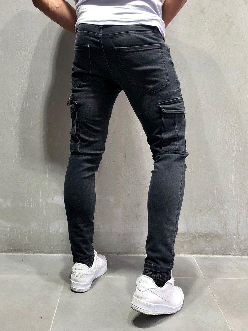 Men Skinny Fit Gu Cargo Jeans Black 4060 Ropa Pantalones Deportivos Estilo De Hombre
