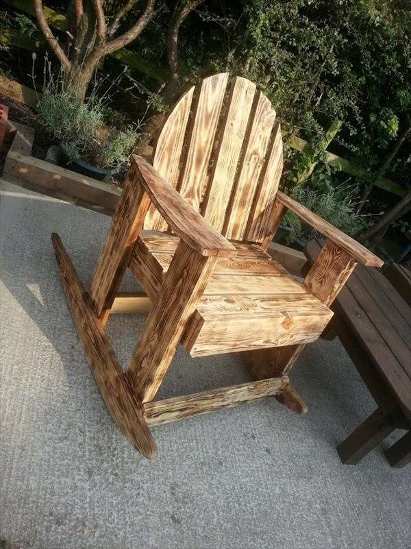 diy pallet rocking chair plans childrens cushions scorched wood garden pinterest 99 pallets
