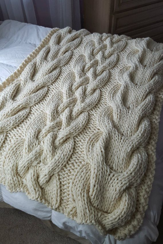 Chunky Oversized Cable Knit Blanket-MADE TO ORDER | Pinterest ...