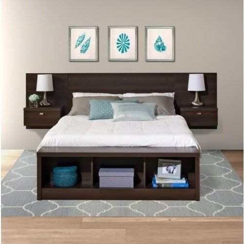 King Size Floating Headboard with Nightstands in Espresso ...