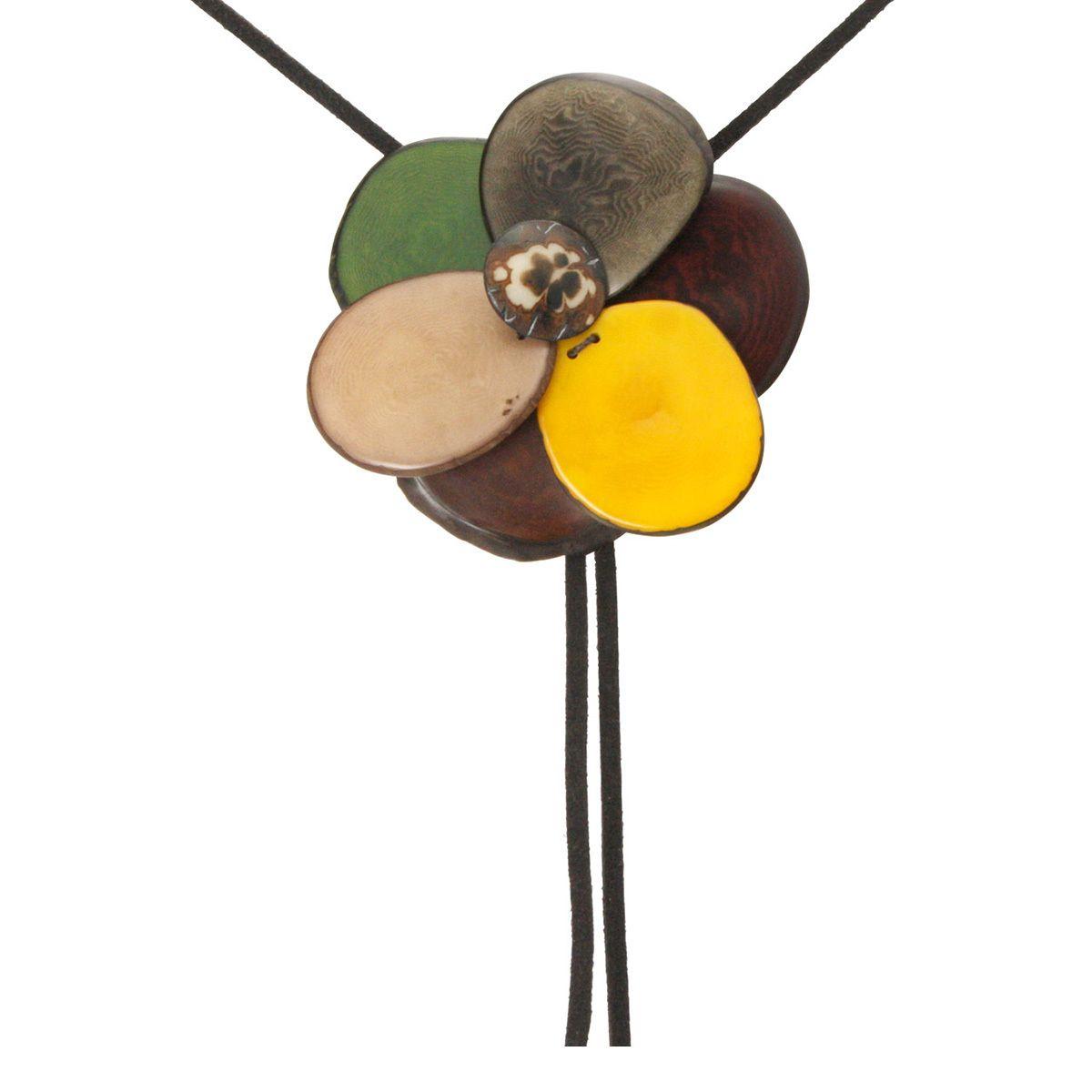Multi-Color Tagua Flower Bolo Adjustable Necklace - Cultural Elements