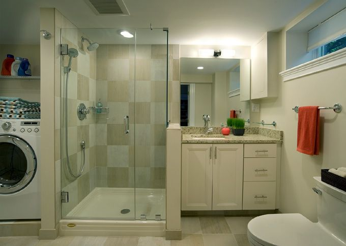 ideas for combining a bathroom with a laundry room for a basement remodel - Bathroom Laundry Room Combo Floor Plans